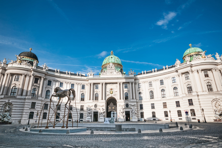 Michaelerplatz i pałac Hofburg w Wiedniu, Austria Zdjęcie Seryjne