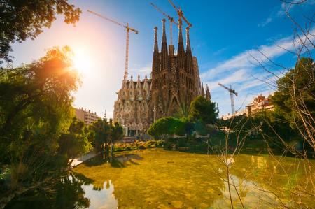 BARCELONA, SPAIN - JANUARY 02, 2018: The Cathedral of La Sagrada Familia against blue sky Editorial
