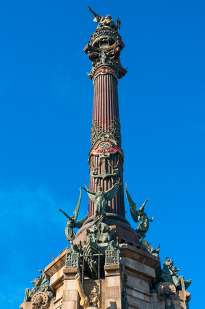 Christopher Columbus Monument in Barcelona, Spain Stock Photo
