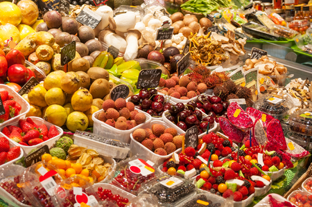 Fruits stall at La Boqueria, the most famous market in Barcelona, Spain Stock Photo