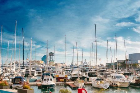 BARCELONA, SPAIN - JANUARY 02, 2018: Sailboat and sailing ship at Port Vell