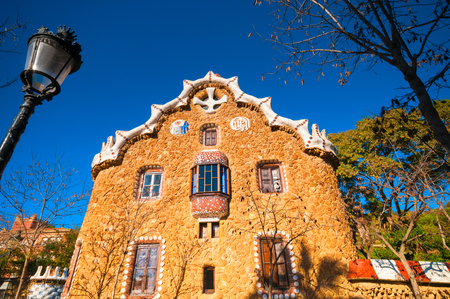 BARCELONA, SPAIN - JANUARY 02, 2018: Casa del Guarda in Park Guell
