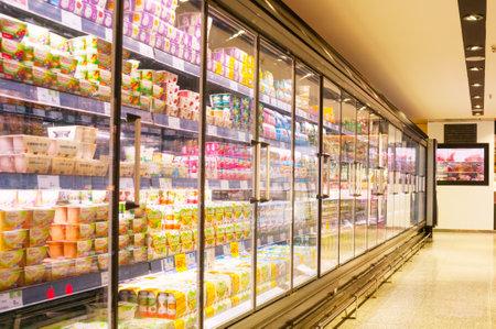 BARCELONA, SPAIN - JANUARY 02, 2018: Stall milk in supermarket El Corte Ingles Editoriali