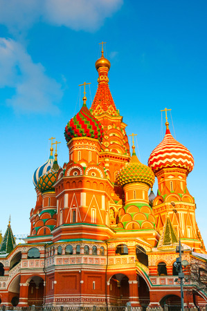 View on Saint Basils Cathedral at Red Square in Moscow, Russia  Stock Photo