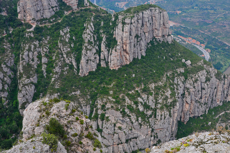 View above from the mountain Montserrat near Barcelona, Spain