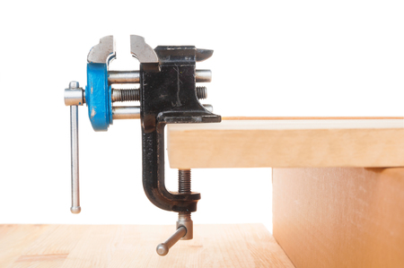 Vise bench close up on white background