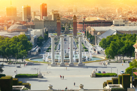 BARCELONA,SPAIN - JUNE 10, 2014: View on Spanish square from National museum