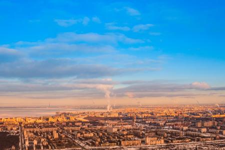 View from airplane at Saint Petersburg in winter Zdjęcie Seryjne