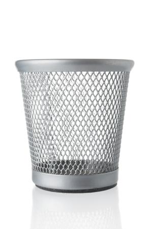 Clean garbage bin close up on white background