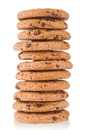 Stack of oat cookies close up isolated on white background