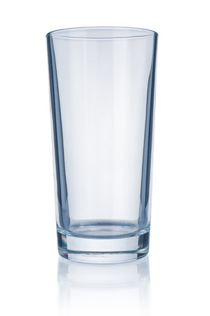Empty glass close up isolated on white background