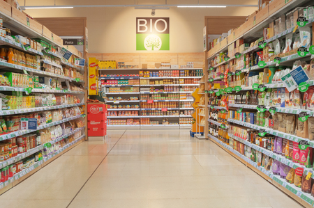 VALENCIA, SPAIN- JUNE 21, 2019: Section of bioproducts in the supermarket Carrefour in Valencia, Spain Editorial