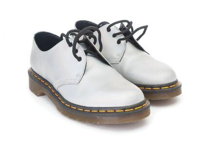 Fashion leather shoes close up isolated on white background