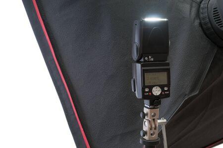 Photo studio lighting equipment, softbox and  flash