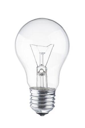 Bombilla de luz de cerca sobre fondo blanco. Foto de archivo