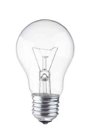 Lampadina da vicino su sfondo bianco Archivio Fotografico