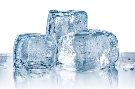 Melting ice cubes close up on white background Stockfoto