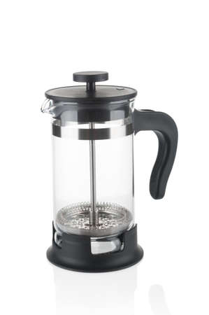 Empty french press close up isolated on white background