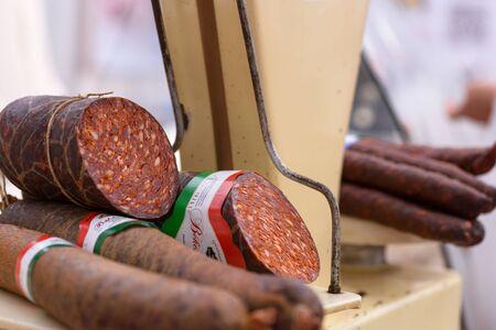 BEKESCSABA, HUNGARY - OKT 19, 2018: Sausage Festival (Csabai Kolbaszfesztival) Sausage exhibition and fair, smoked thick sausage, close up