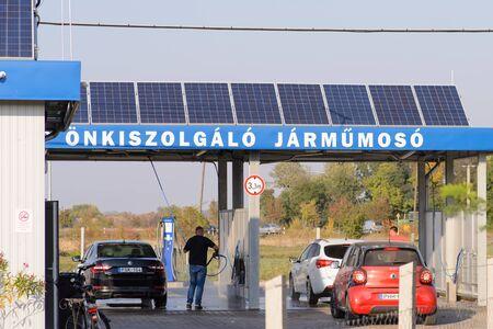 BEKESCSABA, HUNGARY - OKT 12, 2018: Environmentally friendly, solar powered car wash