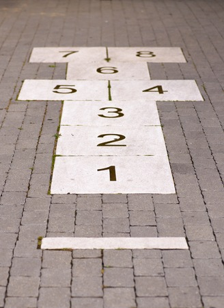 A pre-made hopscotch on the street walkway. Imagens - 119308369