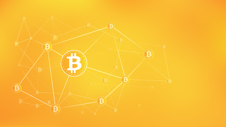 Digital money, bitcoin on the orange network background.