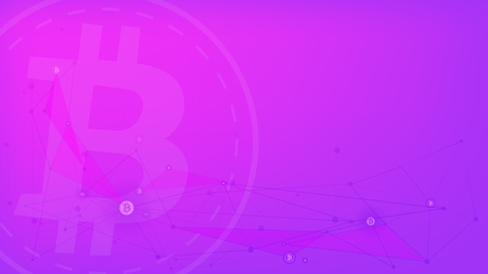 Digital money, bitcoin on the pink-purple network background.
