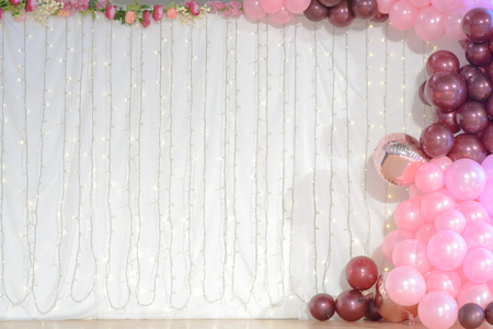 wedding decoration with balloons and led lights.
