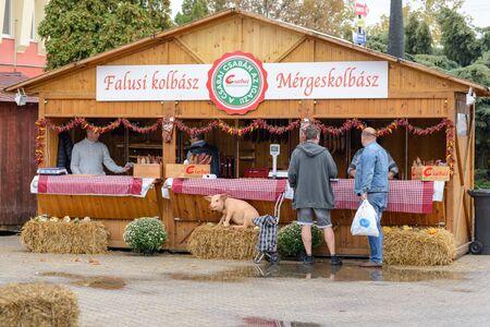 BEKESCSABA, HUNGARY - OKT 19, 2018: Sausage Festival (Csabai Kolbaszfesztival) Food stores in the area of event 新聞圖片