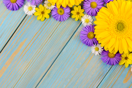 Yellow gerbera, daisy and purple garden flowers on a blue wooden table. The flowers are arranged side by side. Top view, copy space.