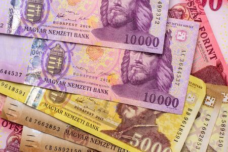 Different Hungarian banknotes, 2-5-10 thousand HUF. Europe Hungary.