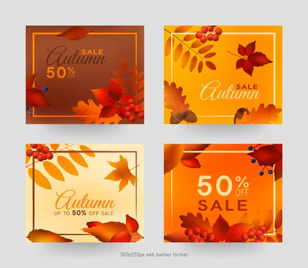 Colorful autumn leaves and berries, sale banner set with frame, autumn forest webb banner templates, 300x250px
