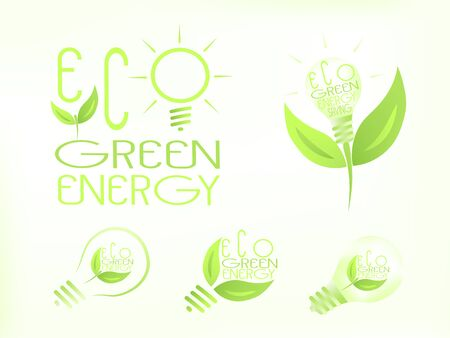 Green energy light bulbs, eco savings set. Green leaf on a small plant in several variations. ECO text included. 向量圖像