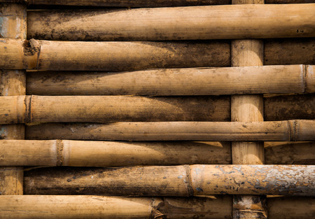 close-up of grunge dirty weave bamboo pathway photo