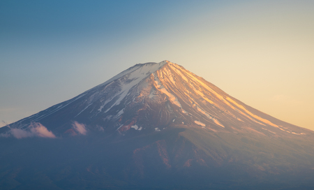 clearly: Mount fuji in sunset with clearly sky Stock Photo