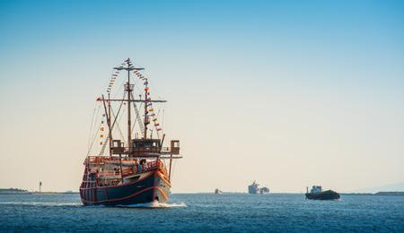 Santa Maria replica cruise in Osaka Bay Stock Photo