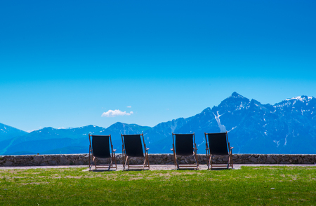 deck chairs on Seegrube mountain in Innsbruck