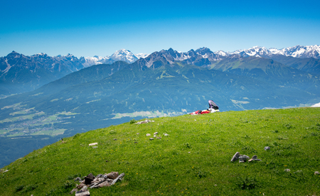 A Backpack on Seegrube mountain with mountain range of Europe alps