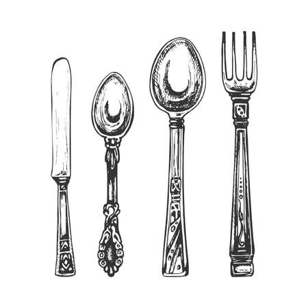 two spoons, fork, knife, cutlery graphic, black outline on white background, vintage hand drawing