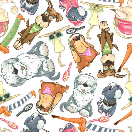 dogs cute drawing, seamless pattern, different breeds, contour drawing 向量圖像