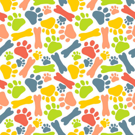 color paw prints of animal cat, dog and bone on white background, seamless pattern