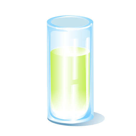 glass cup with lemonade, vector image blue glass, green, yellow drink, isolated object