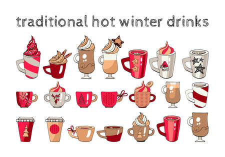 traditional hot winter drinks, set of cups with christmas design elements, template for decor, cards and congratulations, graphic illustration with hands, red, white, black