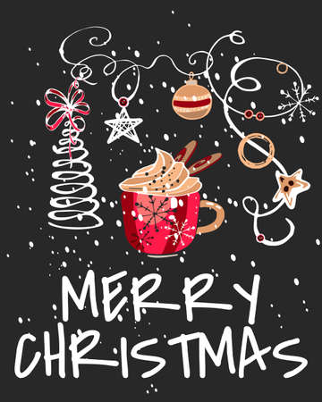christmas card with a red mug of cocoa, gold ribbons, star, snow, ball, on a dark background, hand drawing, white outline