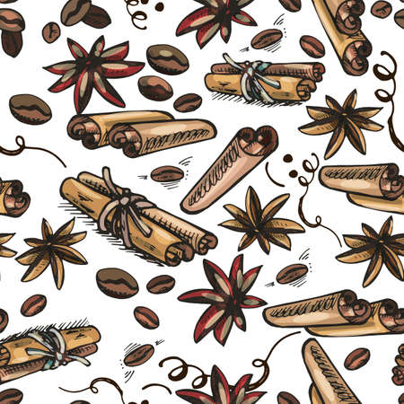 coffee grains, saffron, cinnamon, seamless colored pattern on a white background