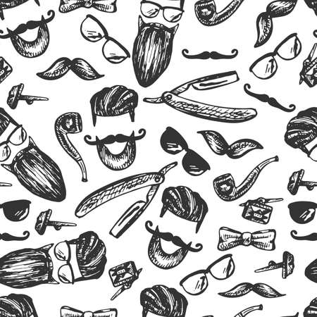 image for men, style, graphics, black outline, silhouette, simple symbols of men's accessories, hairstyle, beard, mustache, glasses, butterfly, tube, razor, cuffs, clips, seamless pattern