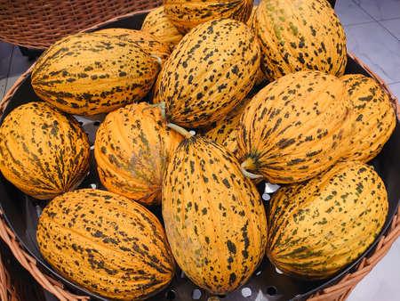 Close-up shot of yellow striped ripe turkish melons, seasonal summer fruits, organic farm product, natural background. Casaba Melon. Selective focus Stock Photo