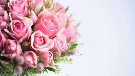 Close-up beautiful pink roses white background, copy space, selective focus.Concept for wedding banner, greeting card.Place for greeting text.Floristic composition small roses.Mother's Day, Valentine's. Stock Photo