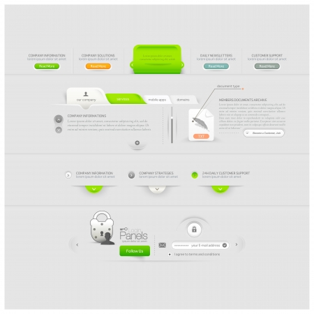 log in: Business web site template design menu elements with icons Illustration