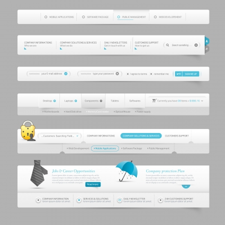 search bar: Web site design navigation template elements with icons